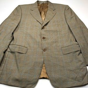 Canali 44R Wool Brown Houndstooth Blue Windowpane